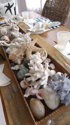 10 Summer Centerpiece Ideas  from Joyful Scribblings  #seashell centerpiece