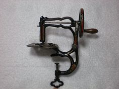 Rare Antique Cast Iron Clamp-on HANCOCK Toy Sewing Machine; Circa 1860's
