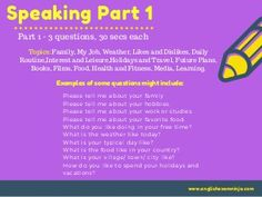 Aptis speaking test Task 1 &2 Some Questions, This Or That Questions, Likes And Dislikes, My Job, Ebook Pdf, Vocabulary, How To Plan, Learning, Books
