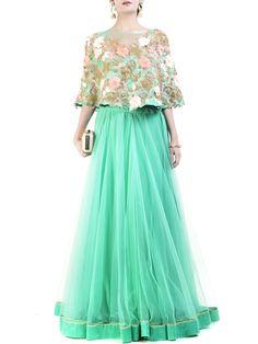 Mint cape lehenga/ansrkali/gown