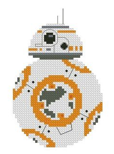 A completed cross stitch version of is now available for purchase! Display your love for the orange and white, one-of-a-kind droid with this finished piece. Stitched on 16 count Aida, wide and high. The Aida fabric is clear coated on the ends Beaded Cross Stitch, Cross Stitch Embroidery, Embroidery Patterns, Cross Stitch Designs, Cross Stitch Patterns, 8bit Art, Bobble Stitch, Christmas Cross, Cross Stitching