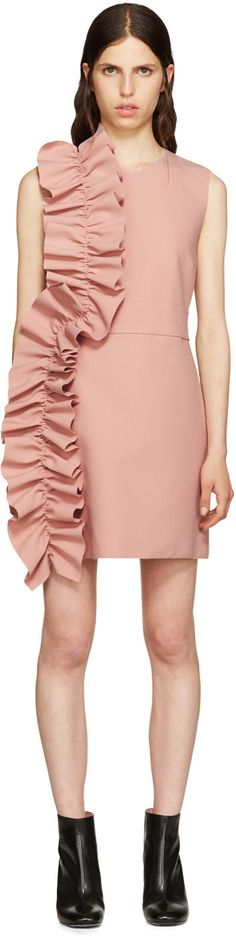 Sleeveless stretch crepe dress in pink. Raw edges throughout. Crewneck collar. Ruffled panel at side. Seam pockets at waist. Concealed zip closure at back yoke. Partially lined. Tonal stitching.