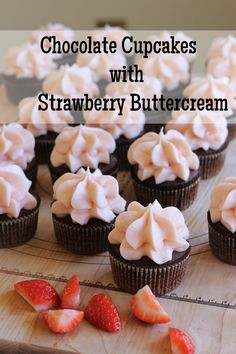 These chocolate cupcakes are rich, filled with strawberry compote, and topped with light strawberry buttercream. Perfect right?