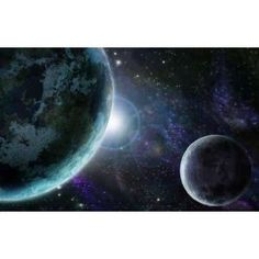Blue Planet Earth in Outer Space - Peel and Stick Wall Decal by Wallmonkeys