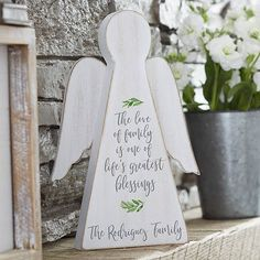 Buy Family Blessing Personalized Wood Angel you can customize with your own text. choose from 3 inspirational phrases and add any first names or family name. Woodworking Shop Layout, Green Woodworking, Woodworking Furniture Plans, Japanese Woodworking, Unique Woodworking, Woodworking Projects That Sell, Woodworking Logo, Woodworking Patterns, Popular Woodworking
