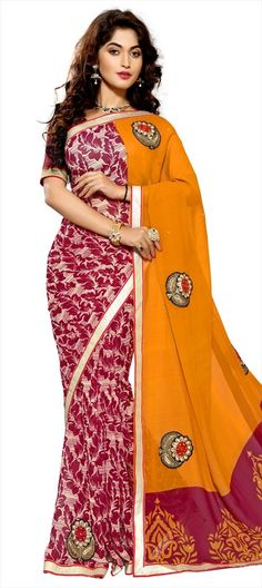 701916 Pink and Majenta, Yellow  color family Embroidered Sarees, Party Wear Sarees, Printed Sarees in Faux Chiffon fabric with Lace, Machine Embroidery, Patch, Printed, Stone, Thread work   with matching unstitched blouse.