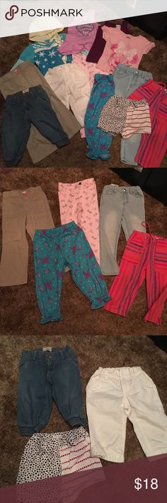 Lot of 12 girls clothes 3T Lot of girls clothes all size 3 t one frozen sweatshirt purple mermaid tank top purple Disney tank top pink Minnie mouse T-shirt patriotic shorts two pedal pushers from Old Navy Tinker Bell PJ pants pink bow pants light jeans, beige pants with adjustable strap and tan pants with pink button Disney Shirts & Tops