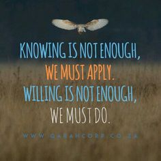 Knowing is not enough, we must #apply. Willing is not enough, we must #do. #business #entrepreneurship #quotes #entrepreneur #success