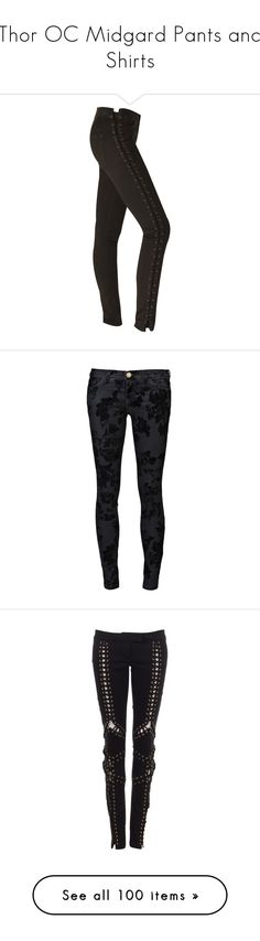 """""""Thor OC Midgard Pants and Shirts"""" by callmelittlewolf ❤ liked on Polyvore featuring jeans, pants, bottoms, calças, hudson jeans, lace up jeans, pantalones, current elliott jeans, skinny fit jeans and short pants"""