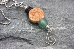 Upcycled Wine Cork Jewelry- Cork and Blue and Brown Recycled Glass Bead Pendant Wine Craft, Wine Cork Crafts, Wine Bottle Crafts, Wine Cork Jewelry, Bottle Jewelry, Recycled Jewelry, Recycled Glass, Recycled Bottles, Cork Necklace