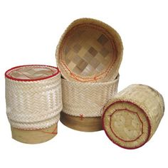 This trio of natural covered bamboo baskets (ga tip in Thai) are used to serve sticky rice. , placing them around the dining table. The sticky rice is kept warm and moist by serving the rice this way. TempleofThai.com $21.19