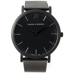 Black steel 'CM' watch from Larsson & Jennings featuring an external deployant clasp, a black PVD 316L stainless steel strap and Ronda 762 quartz movement.