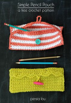 Simple Pencil Pouch Crochet Pattern by Persia Lou