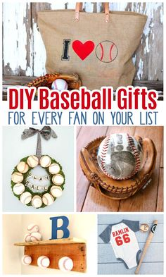 DIY baseball gifts you can make for women, men, and kids for every occasion. Diy Gifts For Mom, Gifts For New Dads, Diy Father's Day Gifts, Father's Day Diy, New Baby Gifts, Homemade Gifts, Dad Gifts, Baseball Jewelry, Baseball Crafts