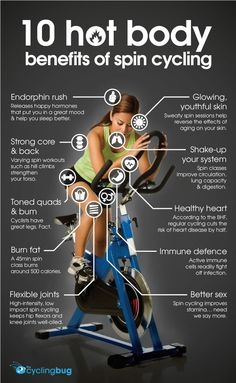 "~st "".""  SPINNING A MUST IF THE WEATHER OUTSIDE DOES NOT COOPERATE... I WOULD RATHER CARRY MY TRAINER TO SPIN CLASS AND SPIN ON MY OWN BIKE!!! <3  THE ABOVE IS ABSOLUTELY TRUE!!  10 hot body BENEFITS OF SPIN CYCLING"