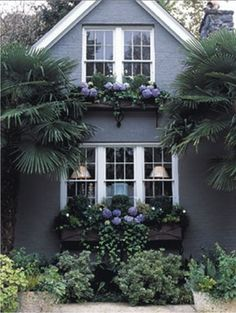 Wow, look at those lush window boxes! Can't wait to install window boxes on our cottage exterior. House Paint Exterior, Exterior Paint Colors, Exterior House Colors, Paint Colors For Home, Grey Exterior, Exterior Design, Paint Colours, Exterior Windows, Garage Exterior