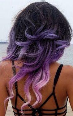black roots violet hair purple ombre lavender haircolor idea