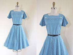 Vintage 1940s Dress - 40s Dress - Delphite Blue Black Deco Button Up Feed Sack Cotton Swing Day Dress L - Cursive Dress