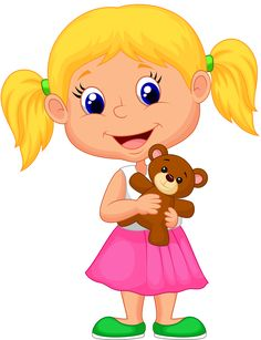 Stock vector of 'Vector illustration of Little girl cartoon holding bear stuff'