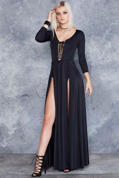 From the back, this looks like a simple, black long-sleeve maxi dress. Turn to the front and BAM! Slay them dead with epic waist-high splits and a dangerously bold lace-up front. Long Sleeve Maxi, Maxi Dress With Sleeves, Dress Skirt, Skater Skirt, Dress Lace, Maxi Dresses, Dresses Online Australia, Black Milk Clothing, Dresser