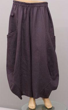 Champagne European Designs Lagenlook Pull Up Linen Balloon Pants Purple | eBay