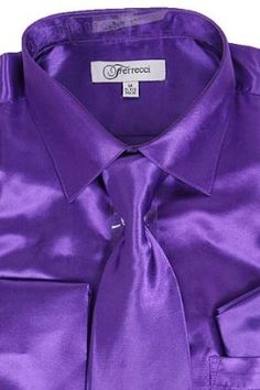 2961a8c6 Classy Men's Satin Shiny Purple Shirt Set + Matching Tie and Hanky Purple  Dress Shirt,