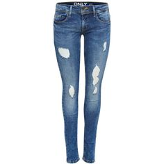 CORAL DESTROYED-EFFEKT- JEANS - Only ($55) ❤ liked on Polyvore featuring jeans, pants, bottoms, destroyed jeans, coral jeans, denim skinny jeans, blue jeans and ripped skinny jeans