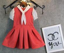 wholesale children's summer 2015 new puff sleeve waist girls children's dresses red yellow 5 pcs lot free shipping(China (Mainland))