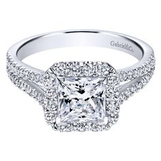 Gabriel&Co White Gold Split Shank Diamond Halo Engagement Setting ($2,040) ❤ liked on Polyvore featuring jewelry, rings, evening jewelry, princess cut ring, white gold cocktail rings, bridal jewelry and cocktail rings