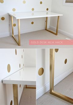 Gold Desk Ikea Hack.  'vika moliden' legs ($20 each) and the 'vika amon' table top in a beautiful, glossy white, and gold spray paint.