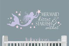 Items similar to Mermaid kisses and starfish wishes wall decal - mermaid wall decal - beach wall decal - starfish decal on Etsy Mermaid Nursery Decor, Mermaid Wall Decals, Beach Wall Decals, Mermaid Bedding, Mermaid Bedroom, Nursery Wall Decals, Vinyl Wall Decals, Girl Nursery, Mermaid Sign