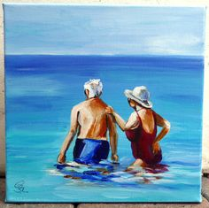 small acrylic painting,women,man,couple,old,baden,sea,Meer,Ehepaar, alt,blau,weiss,blue,white,red,rot,Strand,gift,Geschenk by Beate Frieling by ColorbyBeate on Etsy