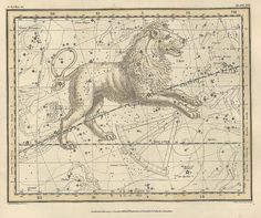 Constellation de la carte Antique du lion, galaxie, de la lune, le monde Antique maps, cartes anciennes, 13