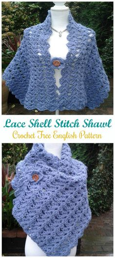 Easy Crochet Blue Shawl with Lacy Shell Stitch [FREE 2019 lacy easy crochet shawl for beginners with free pattern The post Easy Crochet Blue Shawl with Lacy Shell Stitch [FREE 2019 appeared first on Scarves Diy. Crochet Prayer Shawls, Crochet Shawls And Wraps, Knitted Shawls, Crochet Lace, Lace Shawls, Knit Cowl, Hand Crochet, Doilies Crochet, Crochet Geek