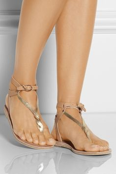 Ancient Greek Sandals | Ismene metallic leather sandals | NET-A-PORTER.COM