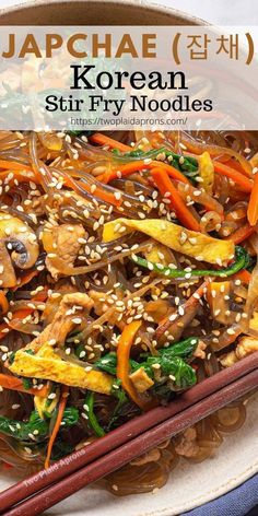 Japchae (잡채), or Chapchae, is a dish that's been in my family for a long time. Everybody makes it different and you can add anything and everything you want. Japchae is a Korean noodle dish that is packed with a rainbow of vegetables, ribbons of egg, and meat if you want! It's super easy to make and it is a very healthy recipe that anyone can enjoy. Visit our blog for the recipe and more! | Two Plaid Aprons | #japchae #chapchae #korean #recipe #healthy #noodles #koreanfood #asian Easy Korean Recipes, Asian Recipes, Ethnic Recipes, Asian Foods, Healthy Dinner Recipes, Vegetarian Recipes, Cooking Recipes, Chapchae Recipe, Japchae Recipe Korean
