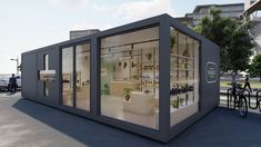 Modular container space concept for a pharmacy store. Shipping Container Store, Container Shop, Container Design, Shipping Containers, Pharmacy Store, Drug Store, Juice Bar Design, Container Buildings, Store Interiors