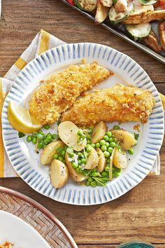 Cornflake Chicken Tenders with Potatoes and Peas