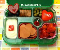 The Lucky Lunchbox: Yumbox full of hearts Cute Lunch Boxes, Bento Box Lunch, Lunch Snacks, Valentines Healthy Snacks, Creative School Lunches, Planet Box, Ways To Eat Healthy, Out To Lunch, Food Allergies