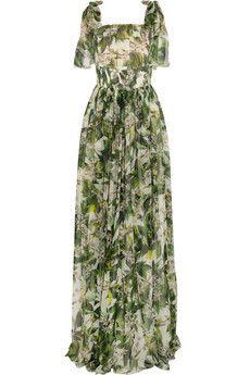 Dolce & Gabbana Orange blossom-print silk-chiffon gown | NET-A-PORTER