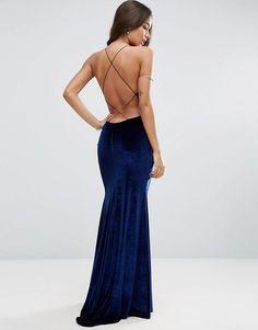 ASOS Velvet Strappy Paneled Maxi Dress With Fishtail Stretch velvet V-plunge neckline Fishtail hem Strappy back Close-cut body-conscious fit Machine wash 90% Polyester, 10% Elastane