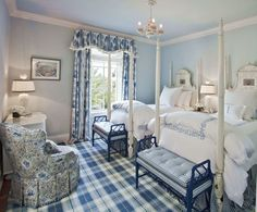 Blue and White Bedroom Decor Lovely Blue & White Bedroom with Gingham and Tartan