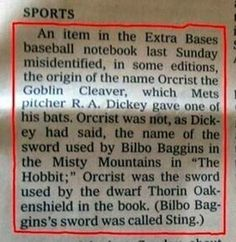 Geek correction #2. | 24 Spectacular Newspaper Corrections