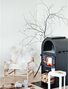 Scan fireplace in a cosy norwegian space - click for full tour.