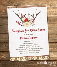 Rustic Bridal Shower Invitation, Wedding Shower, Antlers, Flowers, Red, Brown, Holiday Shower (PRINTABLE FILE) by InvitingDesignStudio on Etsy