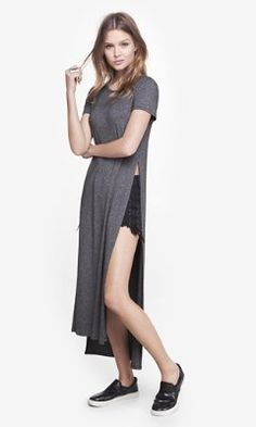 gray one eleven long side slit tee from EXPRESS