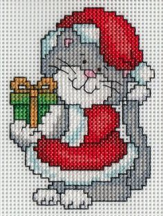 I stayed up probably too late finishing the back stitching on the first of the C. - I stayed up probably too late finishing the back stitching on the first of the Christmas kitty orna - Xmas Cross Stitch, Cross Stitch Christmas Ornaments, Cross Stitch Cards, Cross Stitch Animals, Christmas Embroidery, Christmas Cross Stitches, Cat Cross Stitches, Counted Cross Stitch Patterns, Cross Stitch Designs