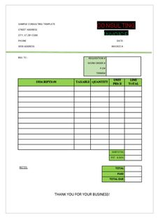 Consultancy Invoice Format  Consulting Invoice Template