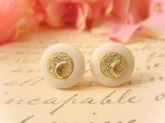 Vintage Earrings Gold Crescent Earrings Vintage by JeweledRiot