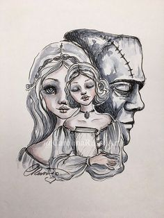 Items similar to Mary Shelley, Frankenstein, Open Edition Signed Print, Size Watercolor Ink Illustration on Etsy Mary Shelley Frankenstein, Bride Of Frankenstein, Overlays Tumblr, Vintage Horror, Ink Illustrations, Sign Printing, Ink Painting, Watercolor And Ink, Inktober